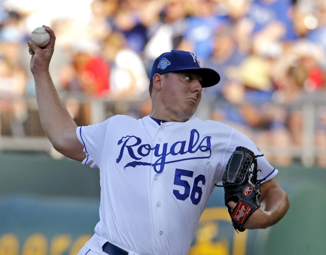 Kansas City Royals starting pitcher Brad Keller throws during the second inning of the team's baseball game against the Boston Red Sox on Saturday, July 7, 2018, in Kansas City, Mo. (AP Photo/Charlie Riedel)