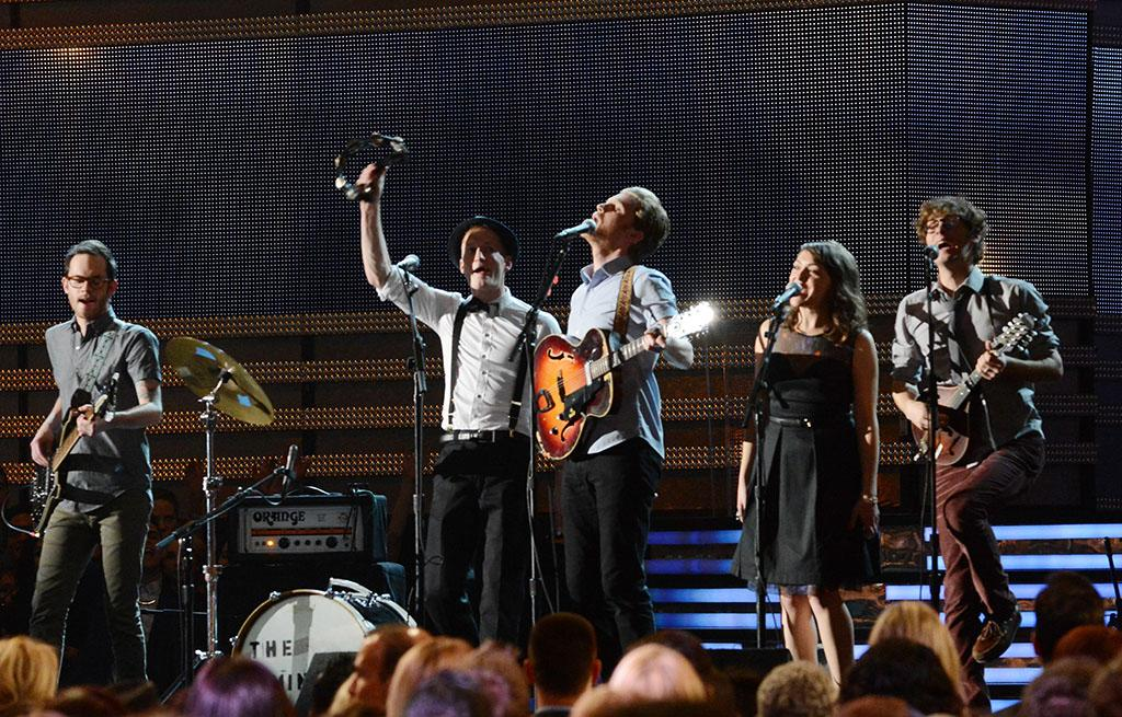 Stelth Ulvang, Jeremiah Fraites, Wesley Schultz, Neyla Pekarek and Ben Wahamaki of The Lumineers perform at the 55th Annual Grammy Awards at the Staples Center in Los Angeles, CA on February 10, 2013.