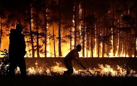 <span>Russian wildfires in 2010</span> <span>Credit: Artyom Kototayev/AFP </span>