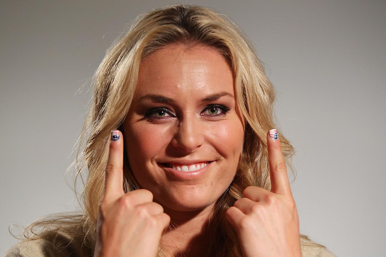 LONDON, ENGLAND - AUGUST 04:  U.S. Olympian Lindsey Vonn visits the USA House at the Royal College of Art on August 4, 2012 in London, England.  (Photo by Joe Scarnici/Getty Images for USOC)