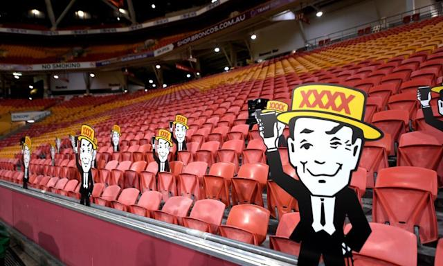 "<span class=""element-image__caption"">Cardboard cutout fans in the stands at Suncorp Stadium.</span> <span class=""element-image__credit"">Photograph: Scott Davis/AP</span>"
