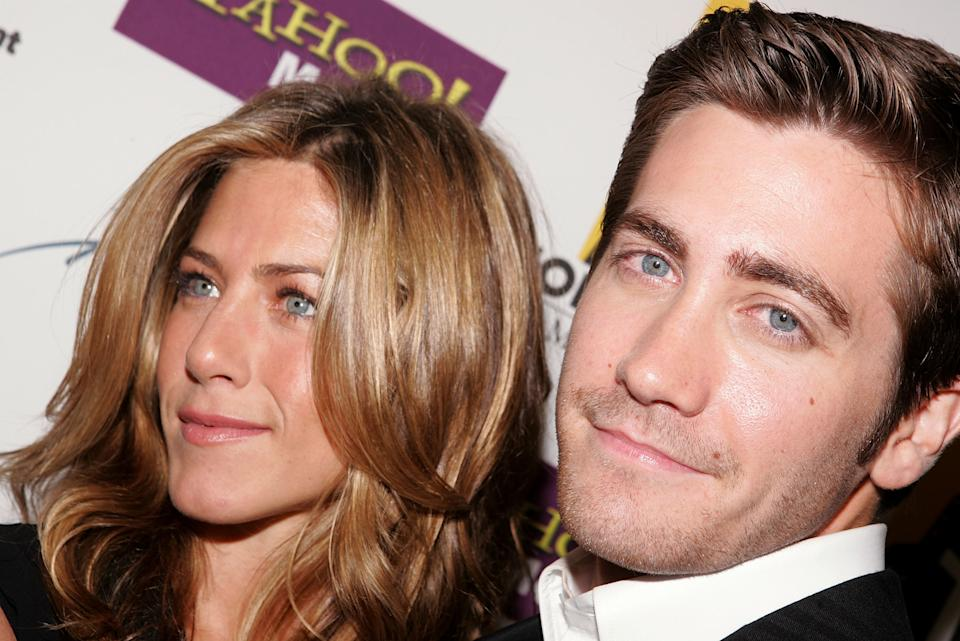 BEVERLY HILLS, CA - OCTOBER 24:  Actors Jennifer Aniston and Jake Gyllenhaal with his Hollywood Breakthrough Acting Award backstage during the 9th Annual Hollywood Film Awards at the Beverly Hilton Hotel on October 24, 2005 in Beverly Hills, California.  (Photo by Mark Mainz/Getty Images)