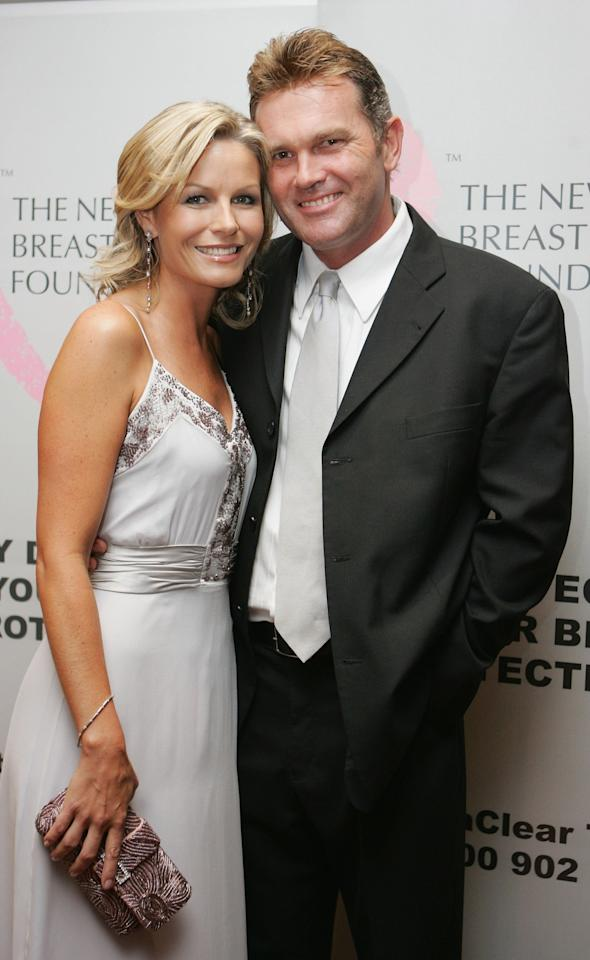"""AUCKLAND, NEW ZEALAND - MARCH 16:  Dancing with the stars winner and former Miss World Loraine Downes with partner former New Zealand cricketer Martin Crowe arrive at the Pearl Of The Pacific Charity Gala Dinner at the Hyatt Regency on March 16, 2007 in Auckland, New Zealand. The evening, attended by New Zealand supermodel Rachel Hunter, raised funds for the New Zealand Breast Cancer Foundation, and included a sneak preview of the new """"Lola by Rachel Hunter"""" swimwear range.  (Photo by Sandra Mu/Getty Images)"""