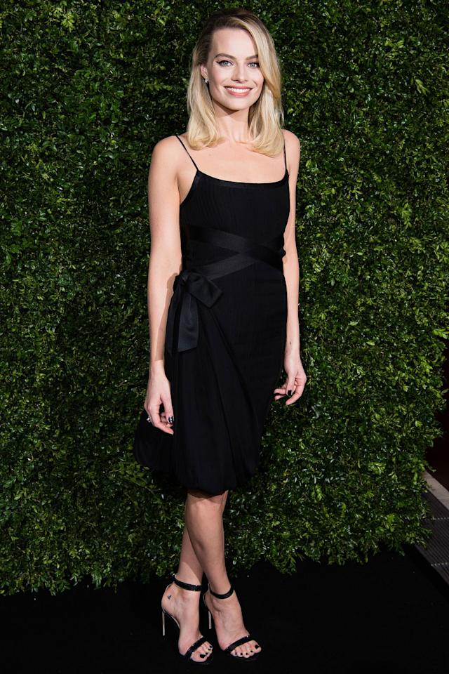 <p><strong>9 February</strong> Margot Robbie opted for a classic Chanel Little Black Dress to attend a pre-BAFTA dinner hosted by the fashion house and Charles Finch at 5 Hertford Street.</p>