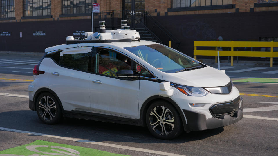 A Cruise Automation Chevrolet Bolt undergoing testing in San Francisco. Source: Wikipedia