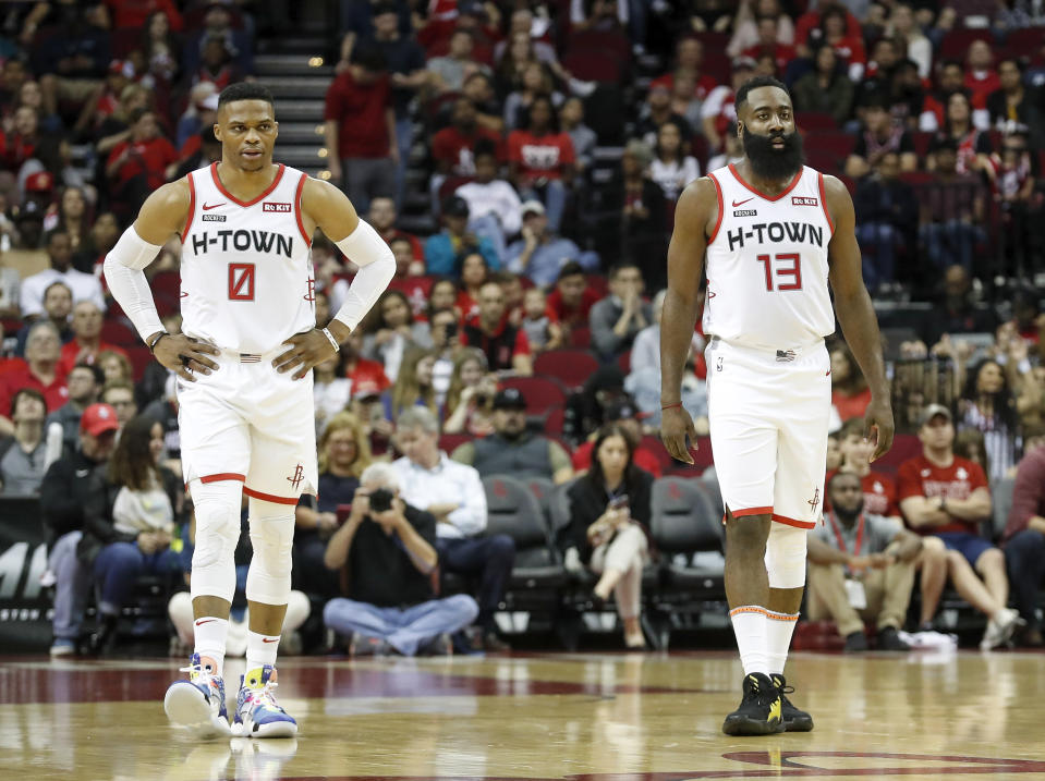 The fit between Russell Westbrook and James Harden is imperfect but explosive. (Tim Warner/Getty Images)
