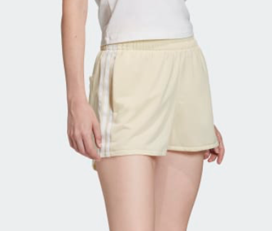 adidas Originals Women's 3-Stripes Shorts in Easy Yellow/White