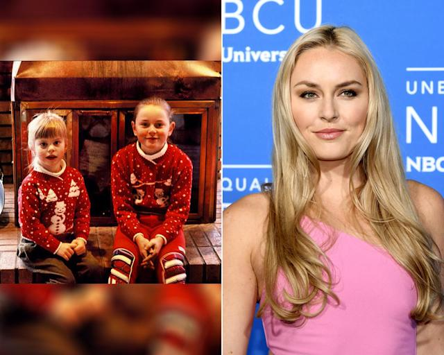 <p><strong>THEN:</strong> Big sister Lindsey Vonn sports matching sweaters with her little sister<br><strong>NOW:</strong> The four-time Olympian put on her first set of skis when she was three years old.<br> (Photo via Instagram/lindseyvonn, Photo by Dia Dipasupil/Getty Images) </p>