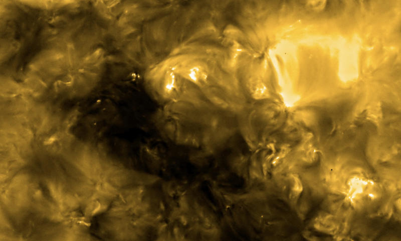 "The Solar Orbiter images revealed miniature solar flares, which have been dubbed ""campfires"", dotted across the Sun's surface. (BEIS via PA)"