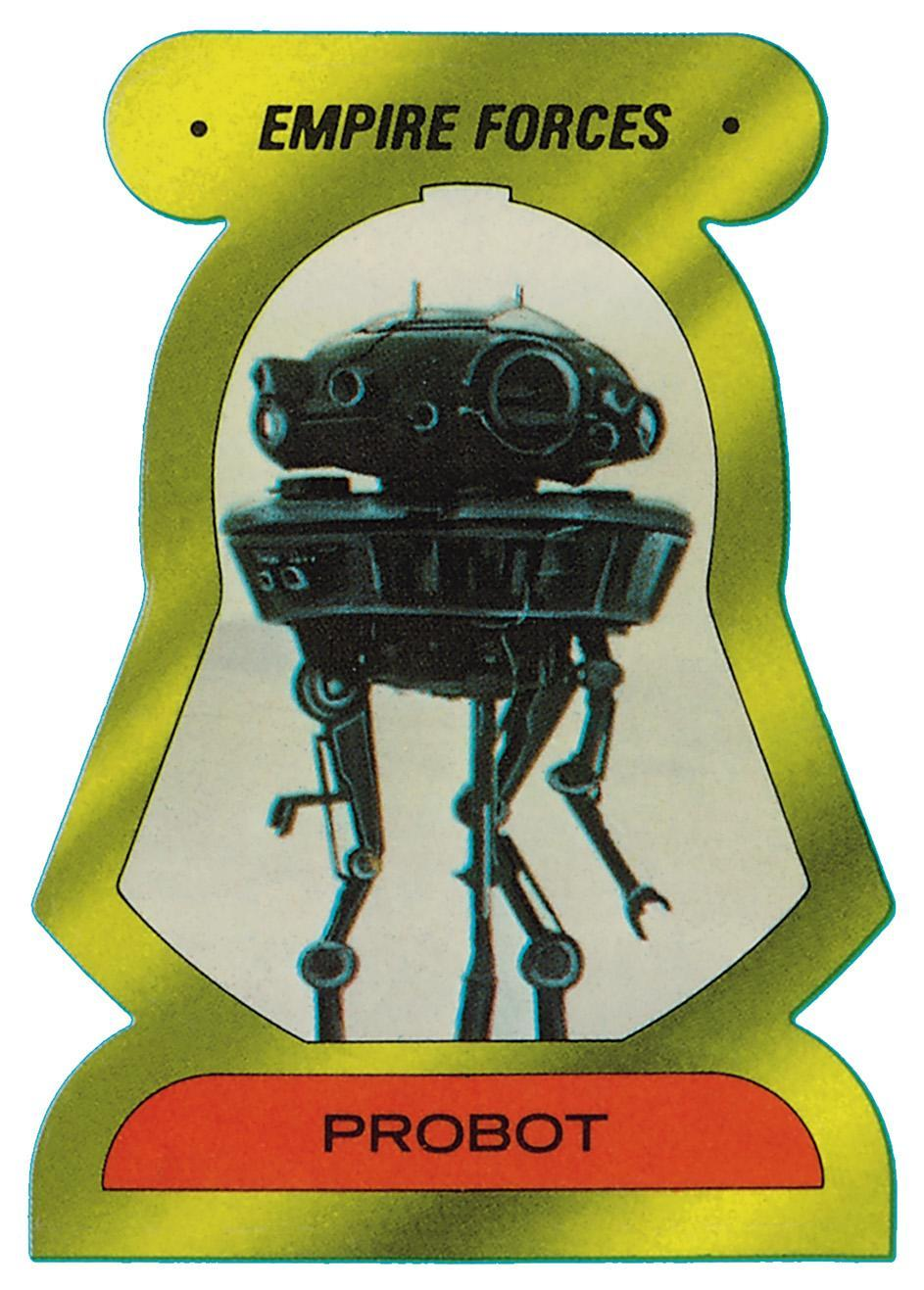 """<p>Initially known as a """"probot"""" when introduced in <i>Empire</i>, these Imperial nasties are now officially called Viper probe droids. You might have briefly seen a viper droid make a cameo in <i>Rogue One</i>. (Credit: The Topps Company and Lucasfilm Ltd (C) Abrams Books) </p>"""