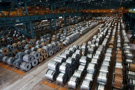 Rolls of steel are stacked inside the China Steel Corporation factory in Kaohsiung