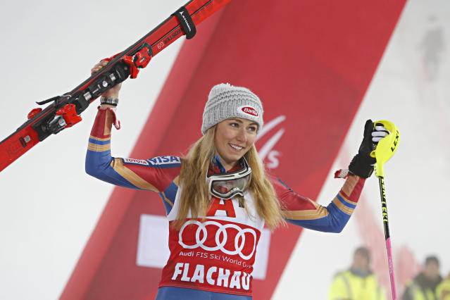 American skier Mikaela Shiffrin became the youngest Olympian to win gold in alpine skiing in 2014.  (Christophe Pallot/Agence Zoom via Getty Images)