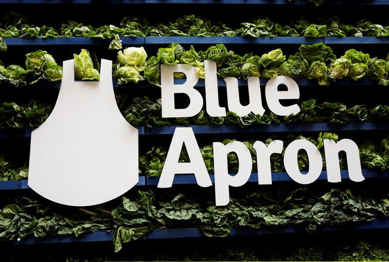 FILE PHOTO: The Blue Apron logo is pictured ahead of the company's IPO on the New York Stock Exchange in New York,
