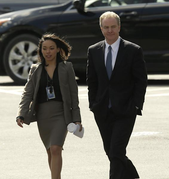 Rep. Chris Van Hollen, D-Md., ranking Democrat on the House Budget Committee, right, arrives at the West Wing of the White House in Washington, Thursday, March 7, 2013. President Barack Obama is having a private lunch with Van Hollen and committee chairman Rep. Paul Ryan, R-Wis. (AP Photo/Pablo Martinez Monsivais)