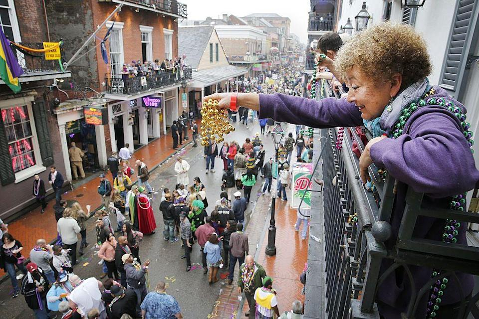 """<p>You may assume that Mardi Gras is one wild party, but there are some spots you can go that are <a href=""""https://www.countryliving.com/life/travel/g19694662/road-trip-destinations-with-kids/"""" rel=""""nofollow noopener"""" target=""""_blank"""" data-ylk=""""slk:family friendly,"""" class=""""link rapid-noclick-resp"""">family friendly,</a> too. Try finding an area along the parade route uptown if you're looking for a more PG experience. </p>"""