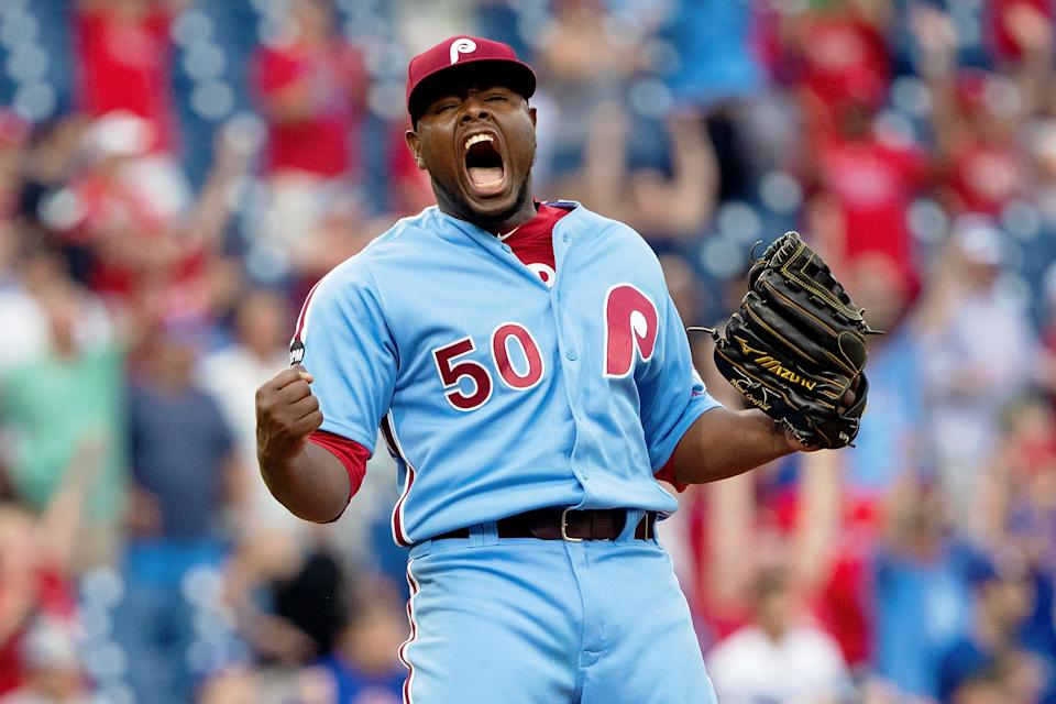 Hector Neris' emotions spilled over after securing a save during a win over the Dodgers. (Reuters)