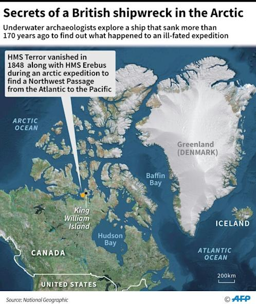 Map showing an area in the Canadian Arctic where HMS Terror vanished in 1848 along with HMS Erebus during an expedition (AFP Photo/Gal ROMA)