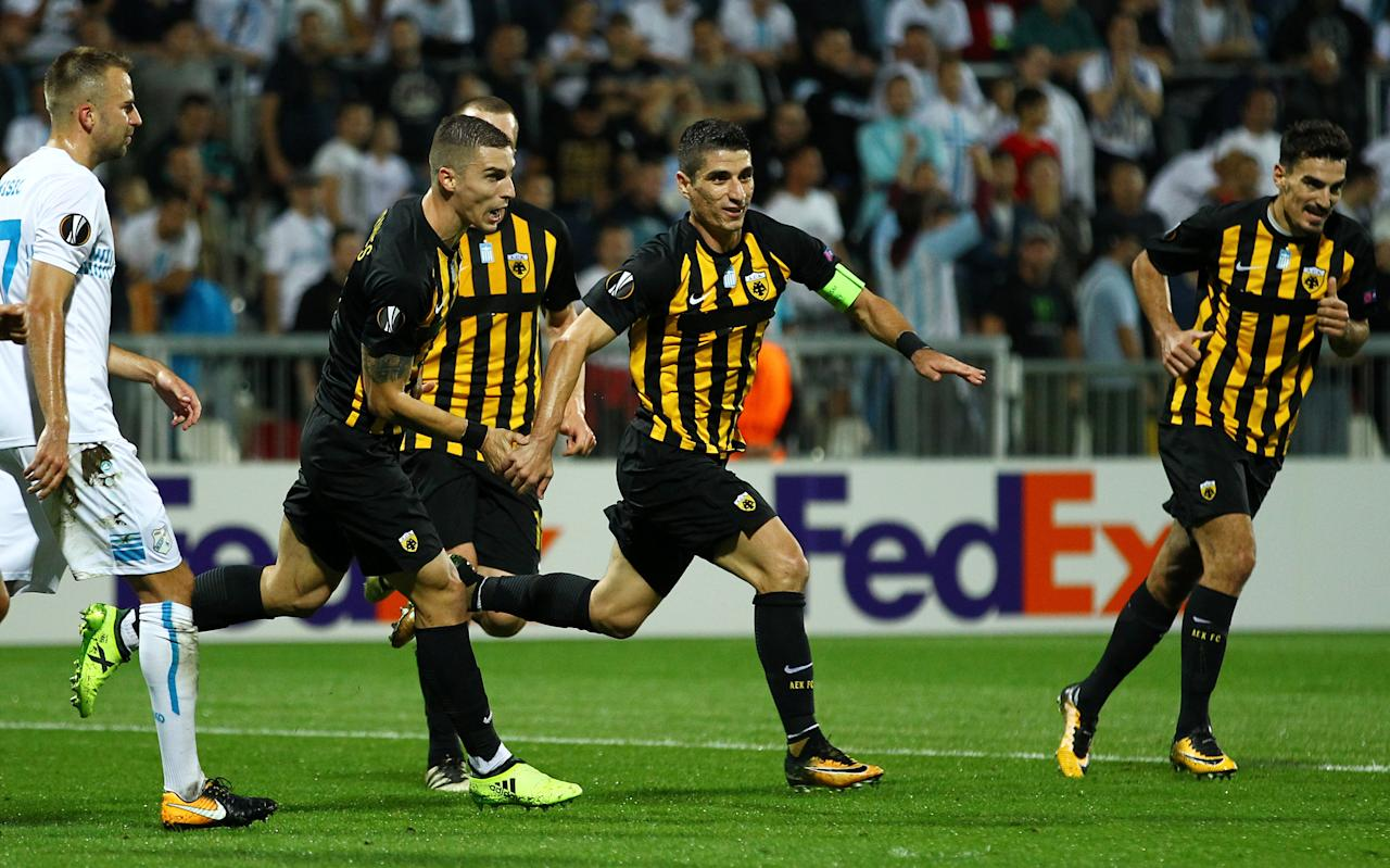Soccer Football - Europa League - HNK Rijeka vs AEK Athens - Kantrida Stadium, Rijeka, Croatia - September 14, 2017   AEK's Petros Mantalos celebrates scoring their first goal     REUTERS/Antonio Bronic