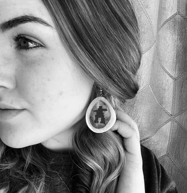 Jacqueline Winters is creating earrings out of caribou bone.  (Jacqueline Winters/Facebook - image credit)