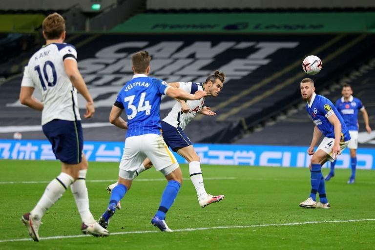 Match winner: Gareth Bale (centre)scored the first goal of his second spell at Tottenham to beat Brighton 2-1