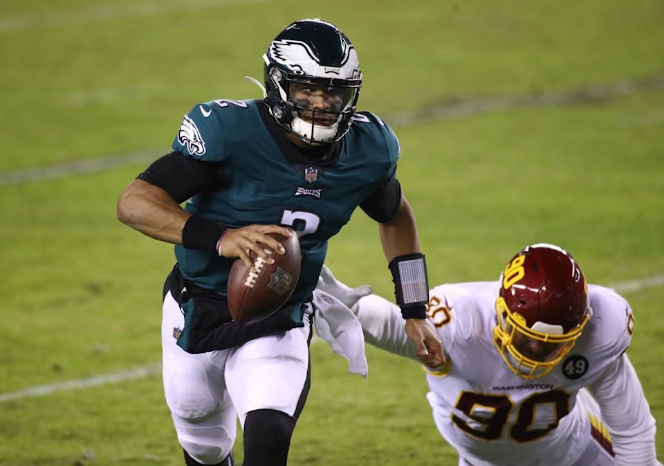 Jalen Hurts will get a shot to lead the Eagles offense. (Photo by Kyle Ross/Icon Sportswire via Getty Images)