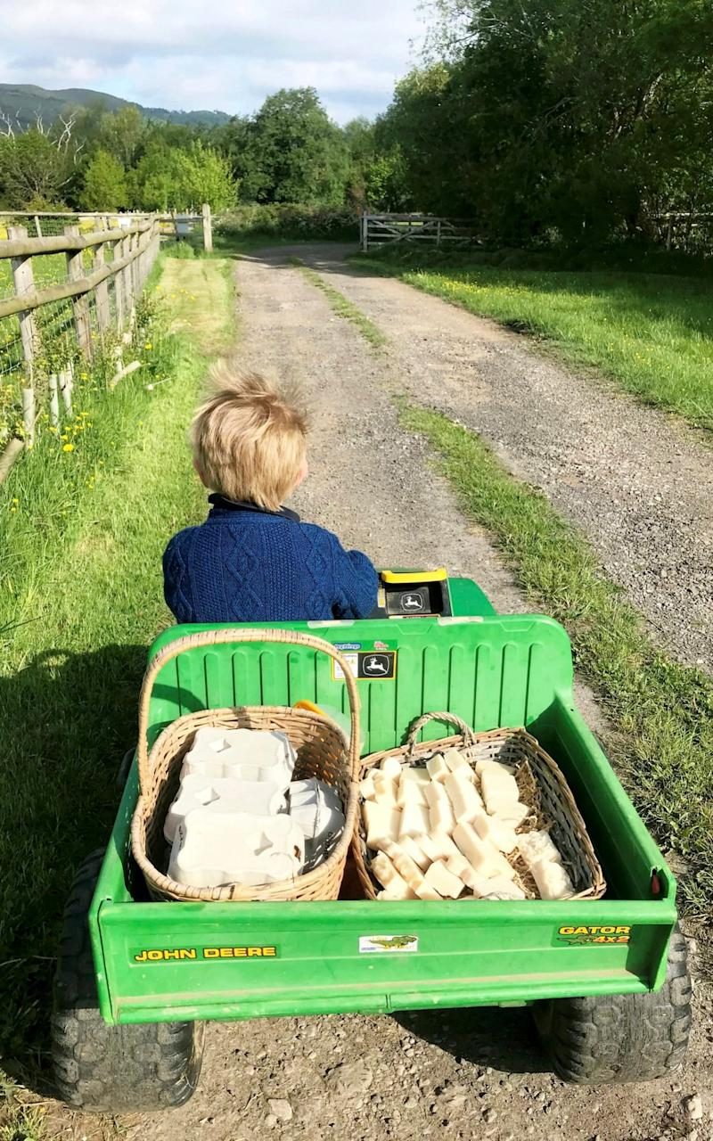 Every morning little Harry goes to restock before school and retrieve any takings which have been left inside the honesty box. - SWNS