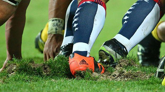 The pitch was torn apart. Pic: Getty