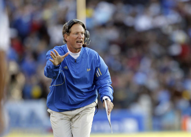Rick Neuheisel has not coached since his stint as head coach at UCLA, his alma mater. (AP Photo/Jae C. Hong)