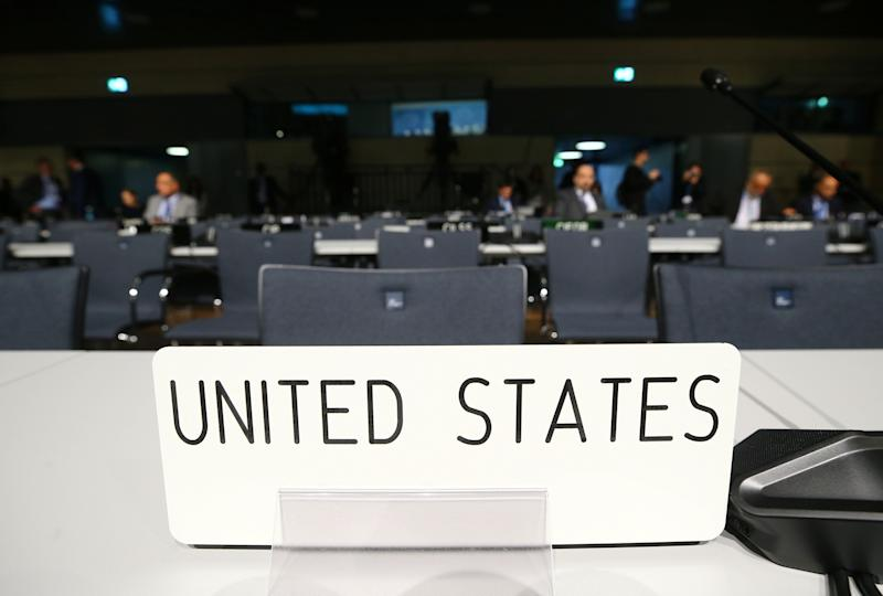 Empty seats of U.S. delegation are seen before the opening session of the COP23 UN Climate Change Conference 2017, hosted by Fiji but held in Bonn.