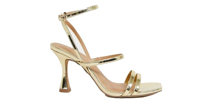 ASOS DESIGN Hailee mid-heeled sandals in gold