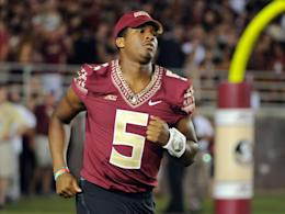 Jameis Winston jogs onto the field before FSU's win over Clemson. (Photo: USAT)