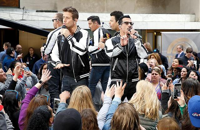 "<p>Donnie Wahlberg, Jordan Knight, Joey McIntyre, Jonathan Knight, and Danny Wood pulled on matching jackets for a performance of several of their hits, including ""Step by Step,"" and their new single ""One More Night"" on <i>Today</i>. (Photo: John Lamparski/WireImage) </p>"