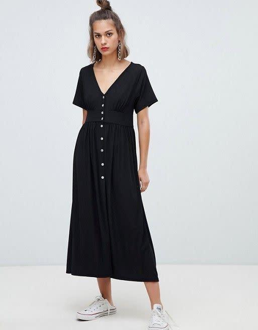 "<strong><a href=""https://us.asos.com/pullbear/pullbear-button-front-midi-dress/prd/10881182"" rel=""nofollow noopener"" target=""_blank"" data-ylk=""slk:Pull &amp; Bear midi dress with buttons"" class=""link rapid-noclick-resp"">Pull &amp; Bear midi dress with buttons</a>, $44</strong>"