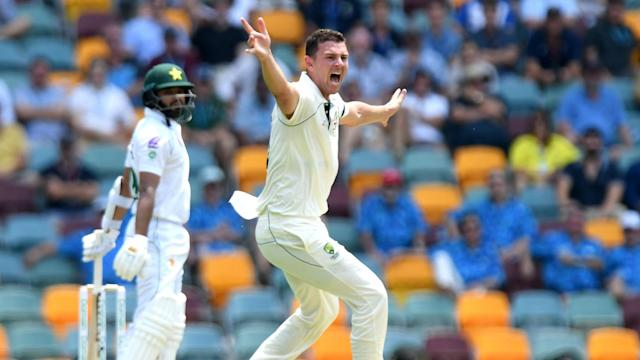 Babar Azam fell cheaply as Pakistan were bowled out on the opening day at the Gabba, with Josh Hazlewood getting his man.