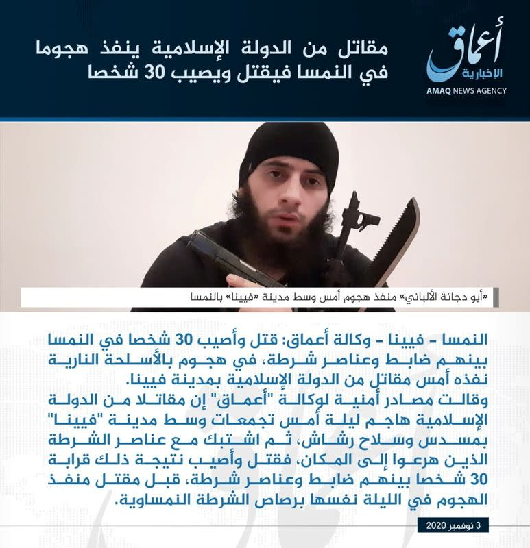 "A statement depicting a man in an undisclosed location, identified by Islamic State, Amaq news agency as ""Abu Dagnah Al-Albany\"