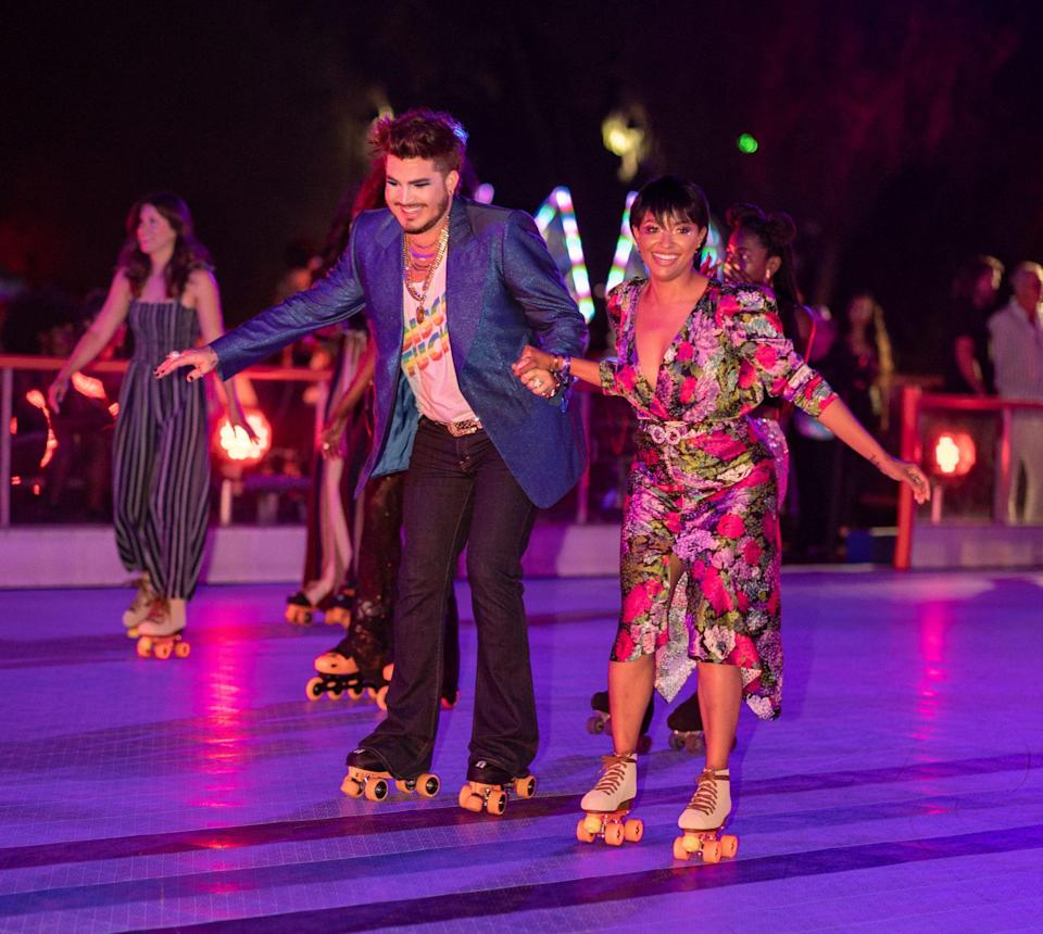 <p>Adam Lambert and Kat Graham attend VIP Night of The DiscOasis at the South Coast Botanic Garden with Groovemaster Nile Rodgers on July 21 in Palos Verdes Estates, California.</p>