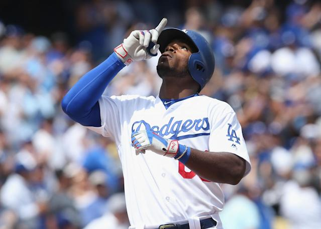 Yasiel Puig's power has returned during the first week of the 2017 season. (Getty Images)