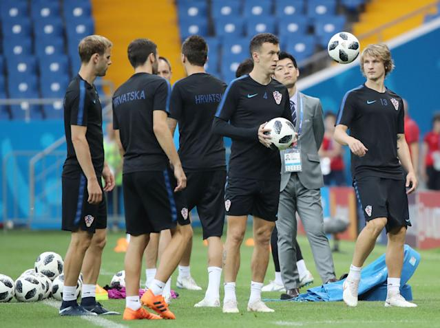 Soccer Football - World Cup - Croatia Training - Rostov Arena, Rostov-on-Don, Russia - June 25, 2018 Croatia's players during training REUTERS/Marko Djurica
