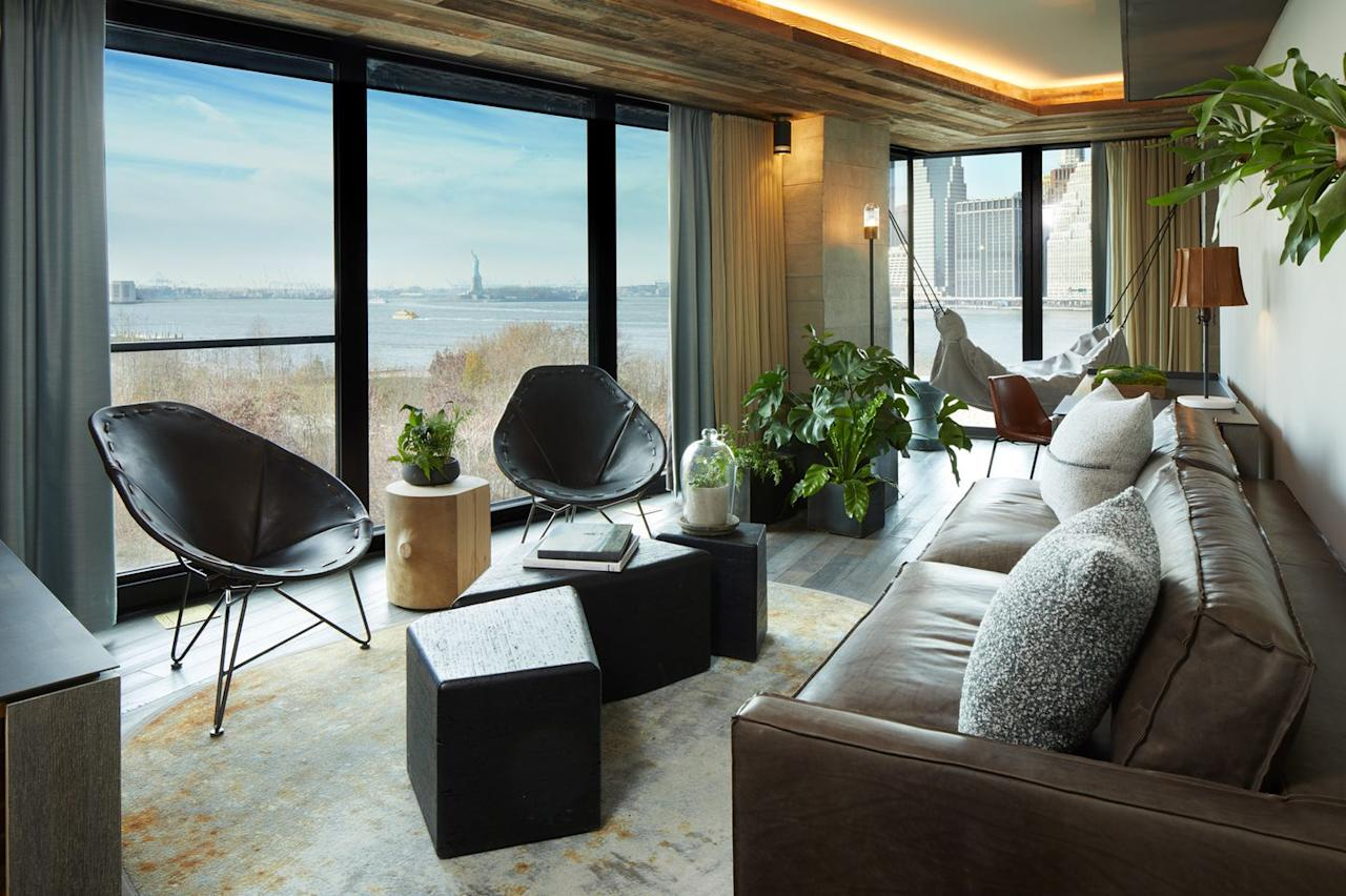 """<p>The skyline and Statue of Liberty views available at the 1 Hotel Brooklyn are unmatched, not to mention the oh-so-Brooklyn rustic-chic decor that make the rooms feel just like home, if your home had spot-on service and high-end amenities. </p><p><a rel=""""nofollow"""" href=""""https://www.1hotels.com/brooklyn-bridge"""">Book Now</a></p>"""