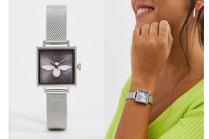Olivia Burton 3D bee sunray watch in silver and lilac