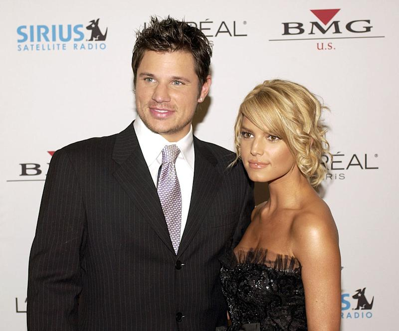 "Singers Nick Lachey and Jessica Simpson quickly rose to a new level of fame on their MTV show, ""Newlyweds."" (Photo: Mark Peterman/WireImage for J Records)"