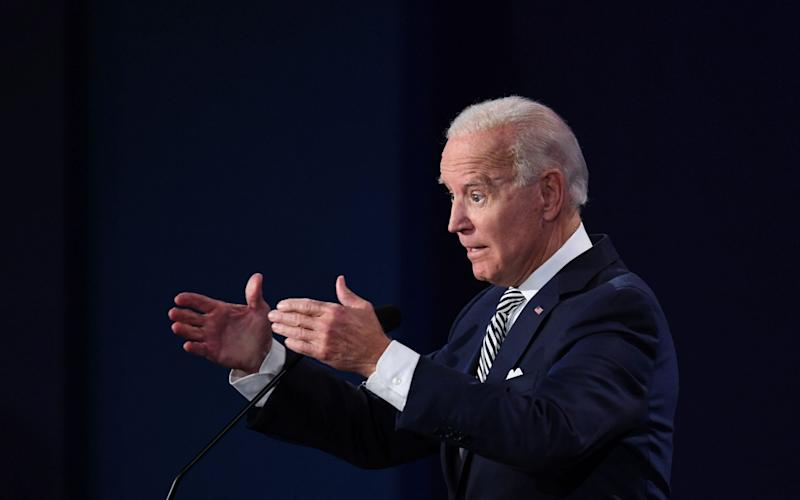 Democratic Presidential candidate and former US Vice President Joe Biden speaks during the first presidential debate at Case Western Reserve University and Cleveland Clinic in Cleveland, Ohio, on September 29, 2020 - GETTY IMAGES