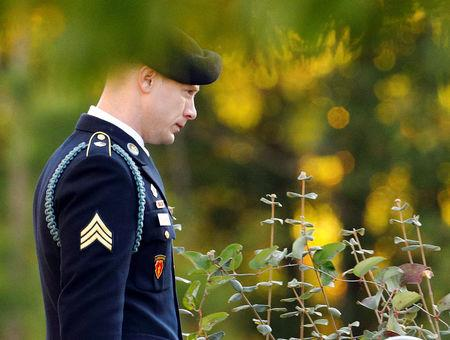 U.S. Army Sergeant Bowe Bergdahl walks out of the courthouse after the judge said he would continue deliberating on his sentence during Bergdahl's court martial at Fort Bragg, North Carolina, U.S., November 3, 2017. REUTERS/Jonathan Drake
