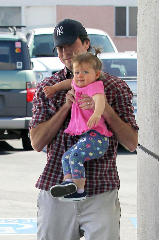 """Little Charlie gets a lift from her devoted dad. Love the pigtails and the outfit! Sam Sharma/<a href=""""http://www.pacificcoastnews.com/"""" target=""""new"""">PacificCoastNews.com</a> - March 14, 2010"""