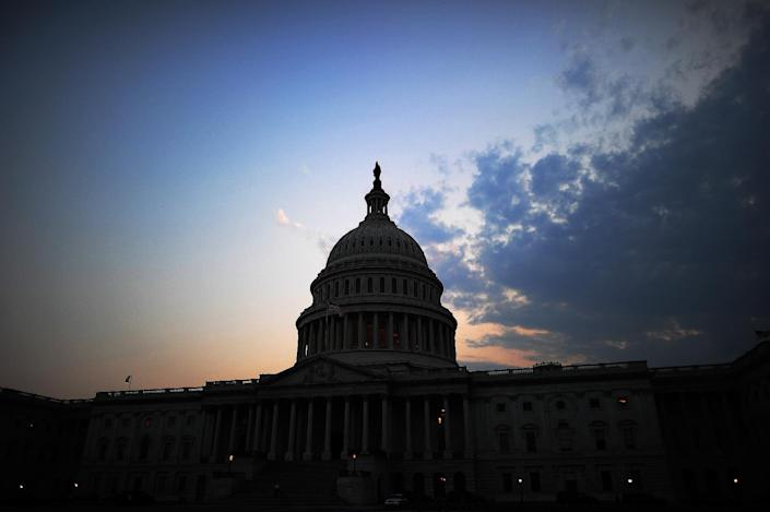 The US Capitol Building is pictured at dusk in Washington, DC, on July 29, 2011 (AFP Photo/Jewel Samad)