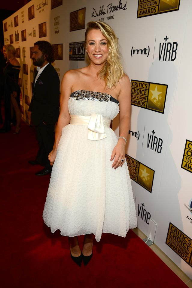 LOS ANGELES, CA - JUNE 10: Actress Kaley Cuoco arrives at Broadcast Television Journalists Association's third annual Critics' Choice Television Awards at The Beverly Hilton Hotel on June 10, 2013 in Los Angeles, California. (Photo by Mark Davis/Getty Images for CCTA)