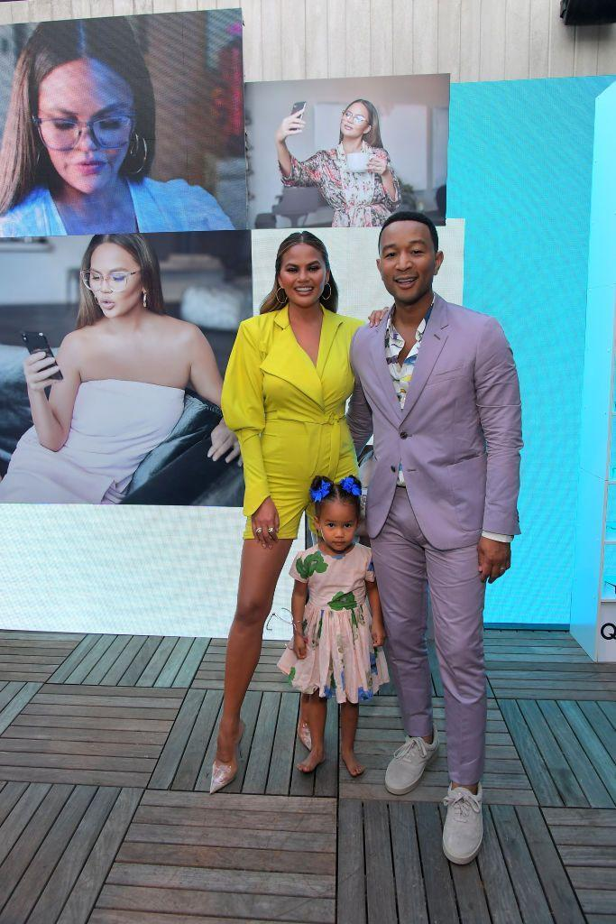 <p>The couple are joined by their eldest child, daughter Luna, at the Quay x Chrissy Teigen launch event in LA.</p>