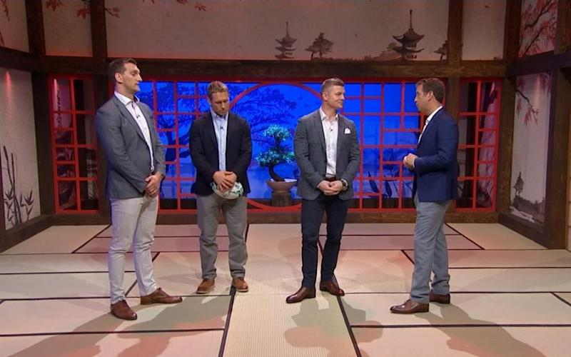 Warburton, Wilkinson and O'Driscoll were criticised after they were spotted analysing games in the annex in full footwear on the opening day of the tournament - ITV