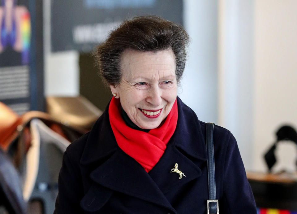The Princess Royal, Vice-Patron of the equine charity, The British Horse Society, visiting the Addington Equestrian Centre near Buckingham. PA Photo. Picture date: Monday March 16, 2020. During the visit she watched a display of world-class coaching demonstrations from top coaches, before giving a speech about the importance of having qualified coaches within the equestrian industry. See PA story ROYAL Anne. Photo credit should read: Steve Parsons/PA Wire (Photo by Steve Parsons/PA Images via Getty Images)