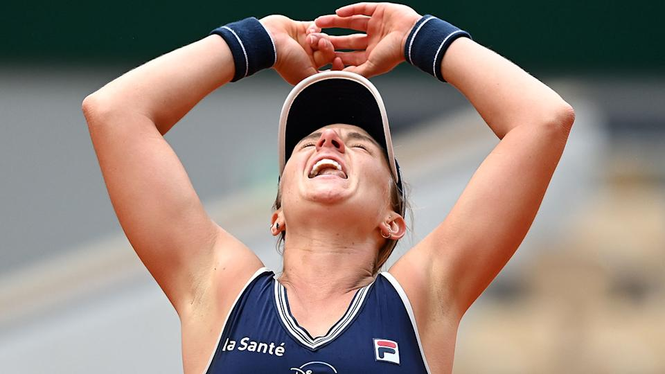 Nadia Podoroska is seen here celebrating her French Open quarter-final victory.